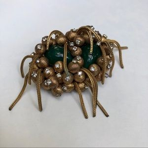 Vintage beaded chain brooch pin